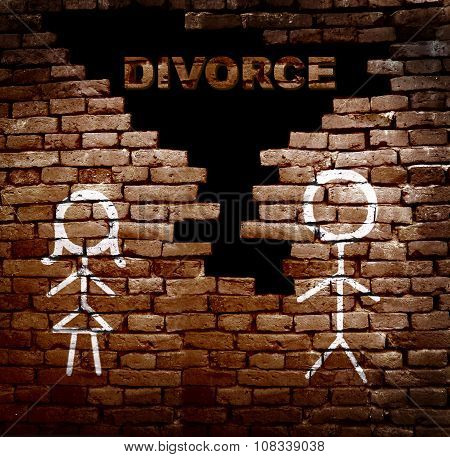 Couple Divorce Wall