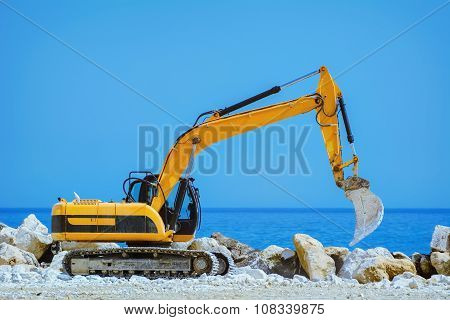 Excavator On The Seaside