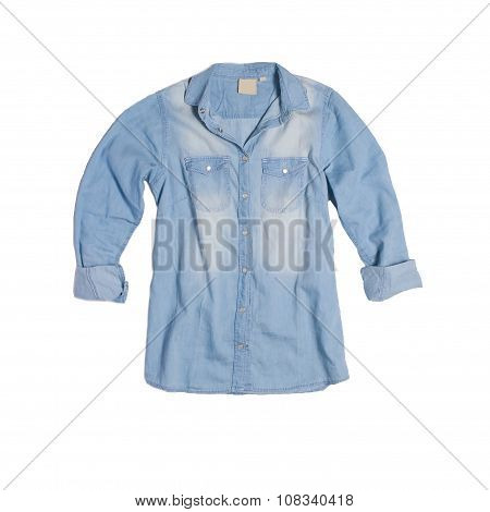 Denim shirt top view on white background