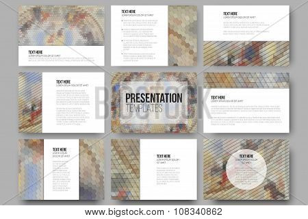 Set of 9 templates for presentation slides. Catholic church inside. Abstract multicolored background
