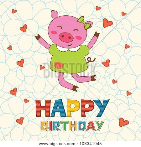 Happy birthday card with happy pig jumping