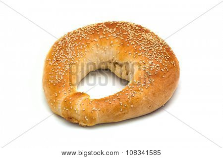 Bread in the form of a bagel on a white background
