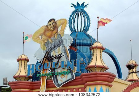 Enchanted Kingdom Houdini sign in Laguna, Philippines