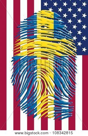 Swedish fingerprint mark over USA flag