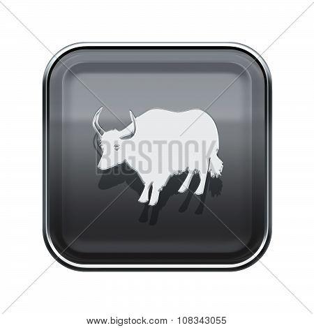 Ox Zodiac Icon Grey, Isolated On White Background.