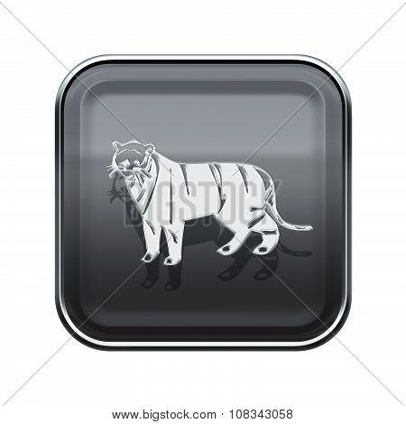 Tiger Zodiac Icon Grey, Isolated On White Background.