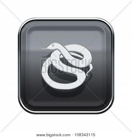 Snake Zodiac Icon Grey, Isolated On White Background.