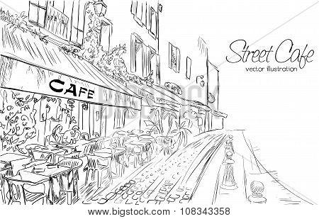 Vector Illustration Of Street Cafe