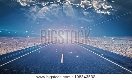 Flash of light in desert roadway