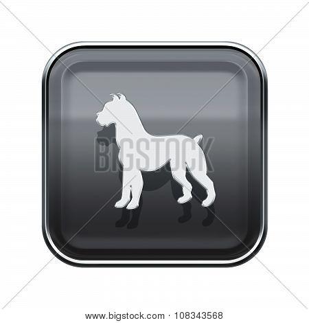 Dog Zodiac Icon Grey, Isolated On White Background.