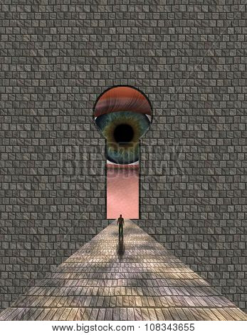Man ventures toward large eye keyhole