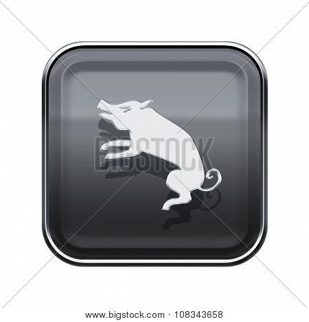 Pig Zodiac Icon Grey, Isolated On White Background.