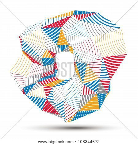 Vector Complicated 3D Figure, Modern Digital Technology Style Form. Abstract Stripy Bright Three-dim