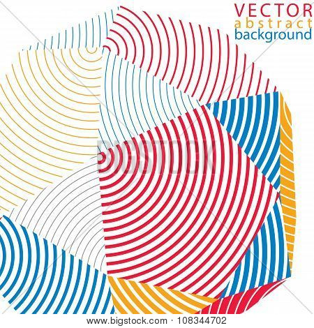 3D Modern Stylish Abstract Stripy Vector Background, Origami Facet Object Constructed From Different