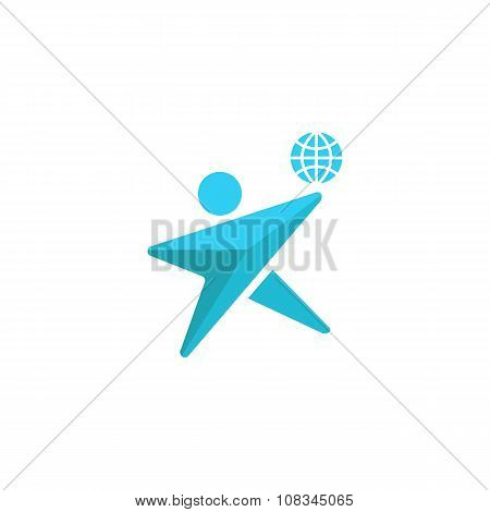 Globe Logo Man Silhouette Together, Concept Save Environment Emblem, Human Together Planet Icon