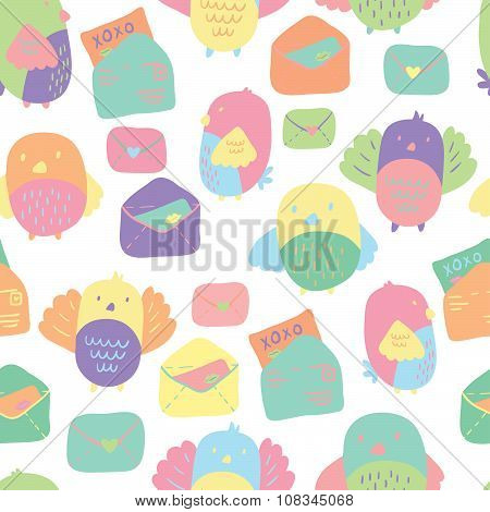 Love Letter seamless vector pattern with adorable lovebirds and letters.