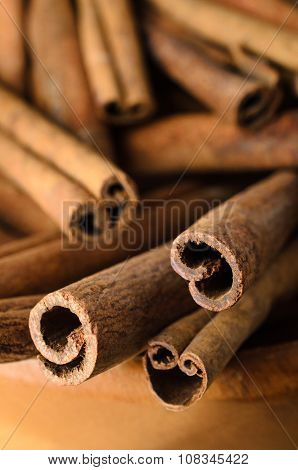 Cinnamon Sticks In Wooden Bowl Close Up