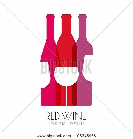 Vector Wine Bottles And Glass, Negative Space Logo Design Template.