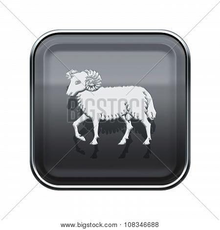 Aries Zodiac Icon Grey, Isolated On White Background