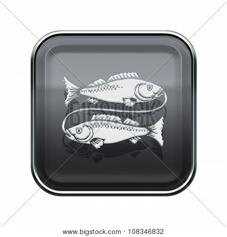 Pisces Zodiac Icon Grey, Isolated On White Background