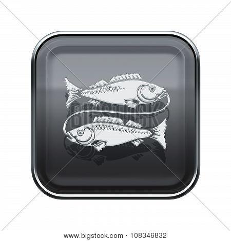 Pisces Zodiac Icon Grey, Isolated On White Background