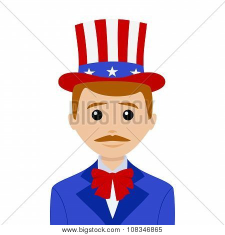Uncle Sam With Red Hair And A Mustache