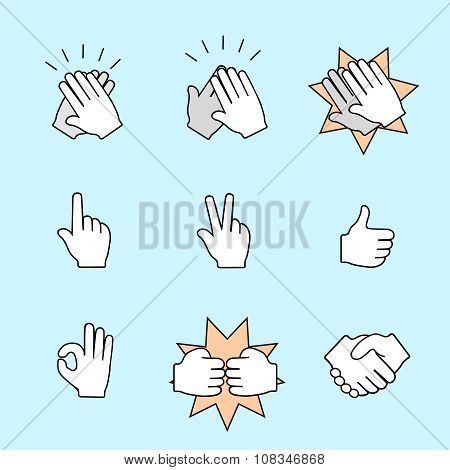 Set of two hands icons. Handshake, clapping applause. Vector color illustration