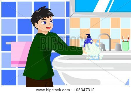 Boy Washing Hands With Soap