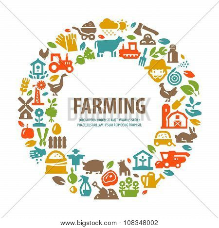 farm vector logo design template. farming, harvest or gardening, horticulture icons