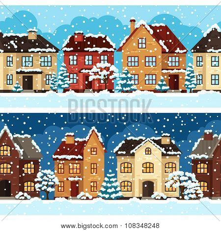 Winter urban landscape pattern with houses and trees