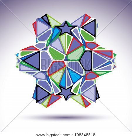 Vivid 3D Modern Stylish Figure Constructed From Triangles, Stars And Geometric Elements. Vector Tran