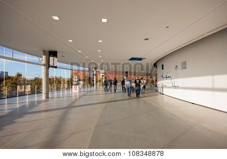 BARCELONA, SPAIN - NOVEMBER 10, 2015: Attendees inside Fira Barcelona Gran Via Exhibition Center at
