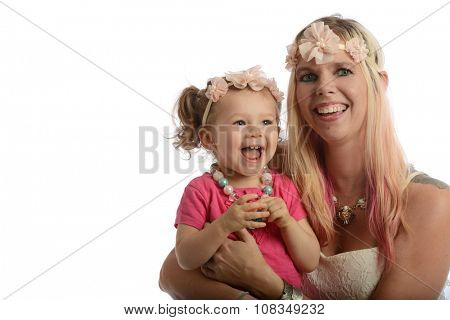 Mother and toddler portrait smiling with copy-space for text