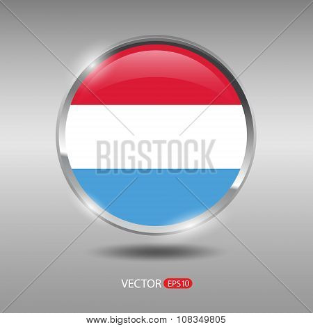Shiny, glossy vector badge with Luxembourg flag