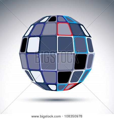 Gray Urban Spherical Fractal Object, 3D Metal Mirror Ball. Kaleidoscope Orb Created From Squares And