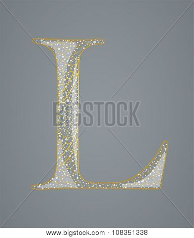 Abstract golden letter L.