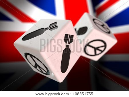 Dice With War And Peace Symbols On Each Side. Rolling Dice With British Flag In Background.