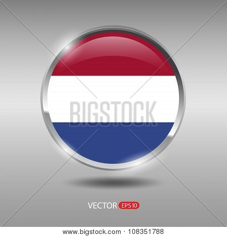 Shiny, glossy vector badge with Netherlands flag