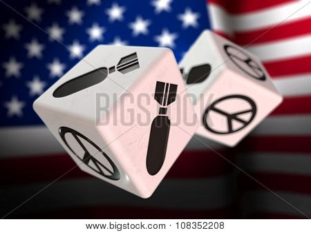 Dice With War And Peace Symbols On Each Side. Rolling Dice With American Flag In Background.