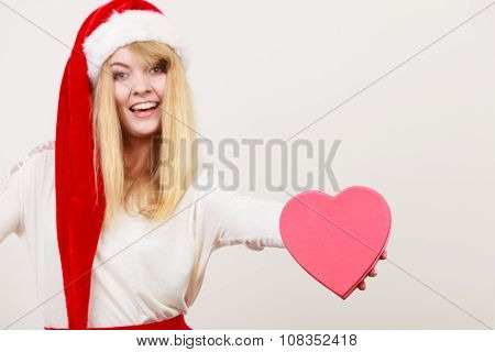 Happy Cute Woman With Heart Shape Box. Christmas.