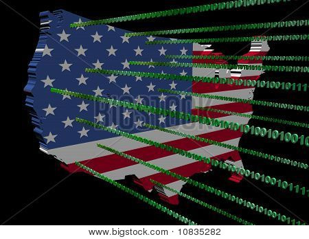 Usa Map Flag With Binary Code