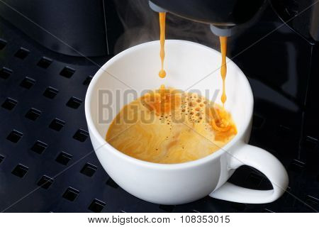 Closeup Espresso Preparation In Coffee Machine