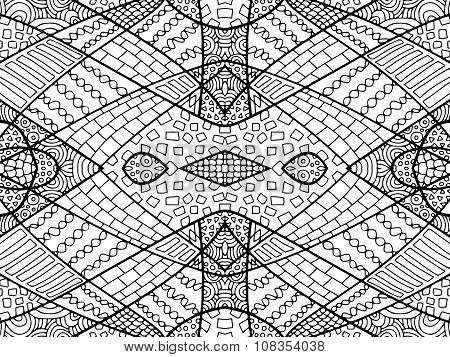 Zentangle Abstract Background Black White 2