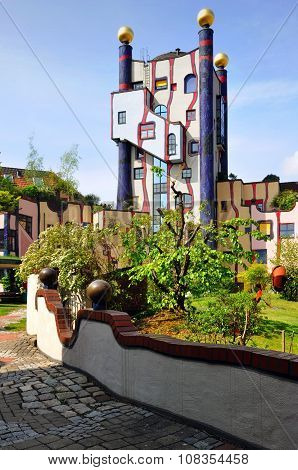 Residential complex in Plochingen, Stuttgart, Germany. Projected by Hundertwasser.
