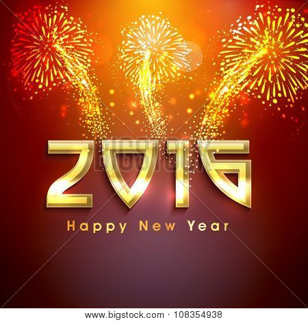 Elegant greeting card design with golden text 2016 on shiny fireworks background for Happy New Year celebration.
