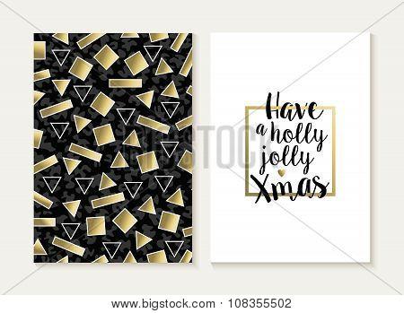 Merry Christmas Card Set Retro Gold 80S Pattern