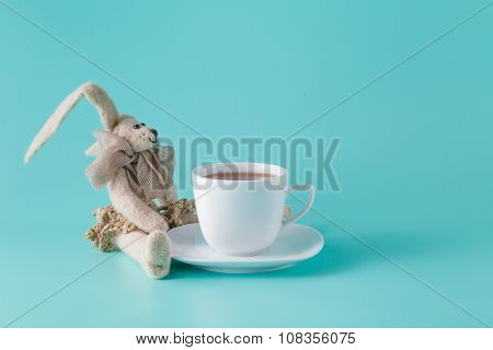 Rabbit Doll With Cup Of Coffee