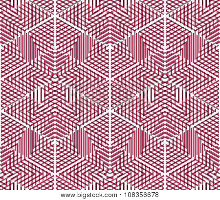 Graphic Seamless Abstract Pattern, Regular Geometric Colorful 3D Background. Contrast Ornament