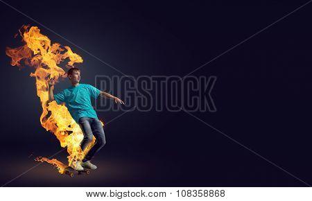 Teenager boy on skate