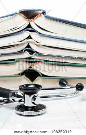 Stacked Books With Stethoscope